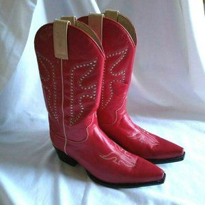 FRYE Red Studded DAISY DUKE Cowboy Boots Leather